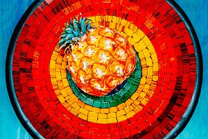 Mosaic. Tropical style Pineapple