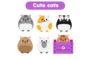 Cute cats vector icons
