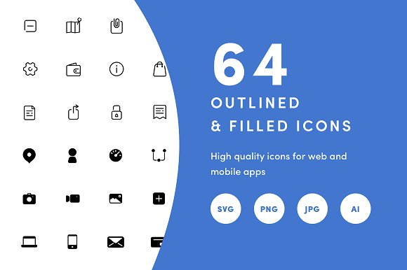 64 Basic App Icon Set 24x24