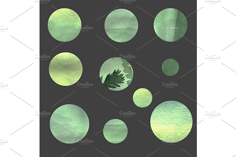 Green circles design elements in Graphics - product preview 8