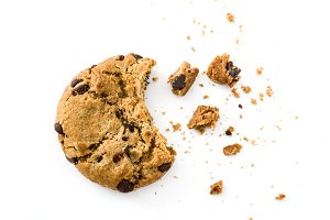 Chocolate chip cookie and crumbs