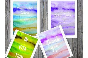 Watercolor cards templates. Indd/jpg