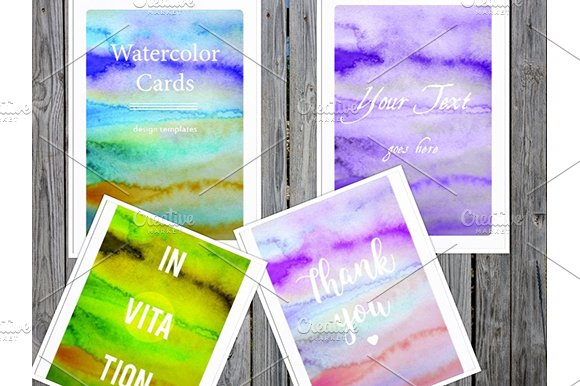 Watercolor Cards Templates Indd Jpg