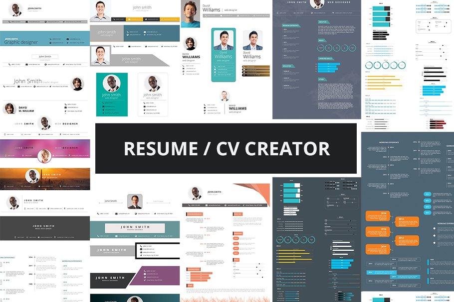 Resume Cv Creator Kit Resume Templates Creative Market