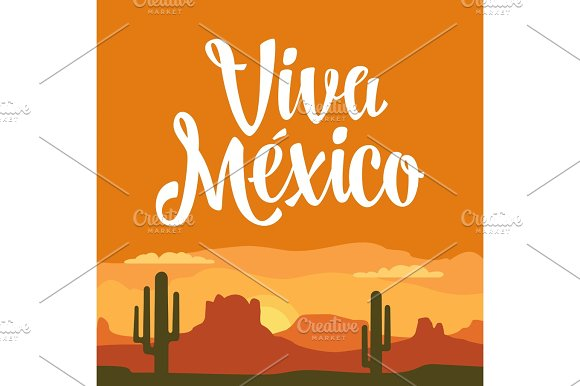 Panorama Mountains And Sunset Sky With Cactus Vector Flat Illustration