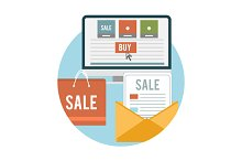 Set business online sale icons