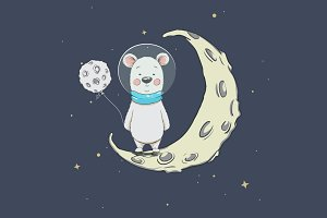 Cute polar bear on crescent moon