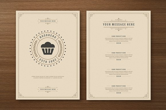 restaurant menu with logo design brochure templates creative market