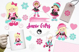 Snow Girls illustration pack