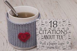 18 Quotes of Tea on a paper cups