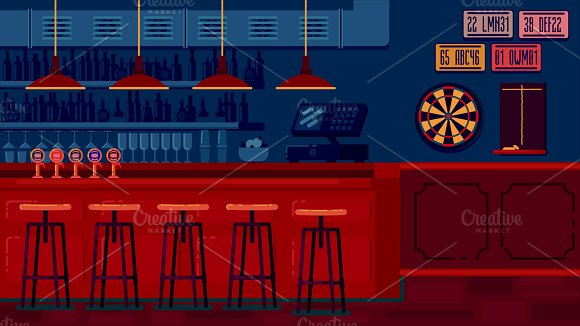Bar Restaurant With Counter In Flat Style