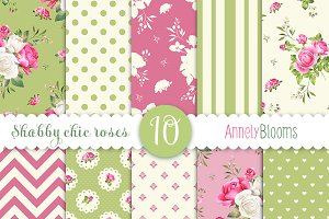 10 shabby chic roses patterns