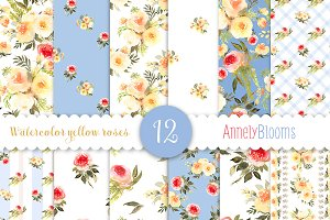 Shabby chic watercolor patterns