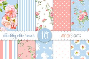 Watercolor roses patterns in blue