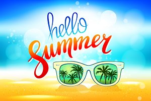 hello summer Vector sunglasses palm