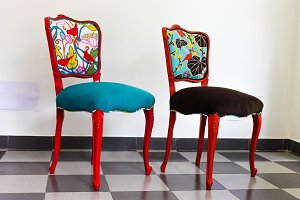 Two Colourful French Chairs