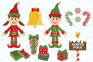 Vector Christmas Elves and Elements