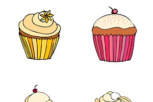 illustrated cupcakes