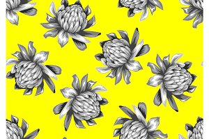 Seamless pattern with etlingera flowers. Decorative ornament