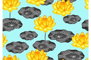 Natural seamless pattern with lotus flowers and leaves