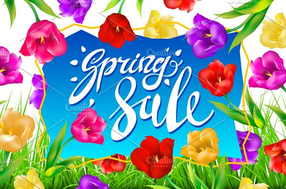 Spring Sale Banner colotful tulips