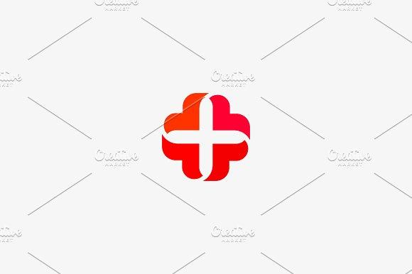 Abstract Medical Cross Logo Design Creative Plus Heart Vector Logotype