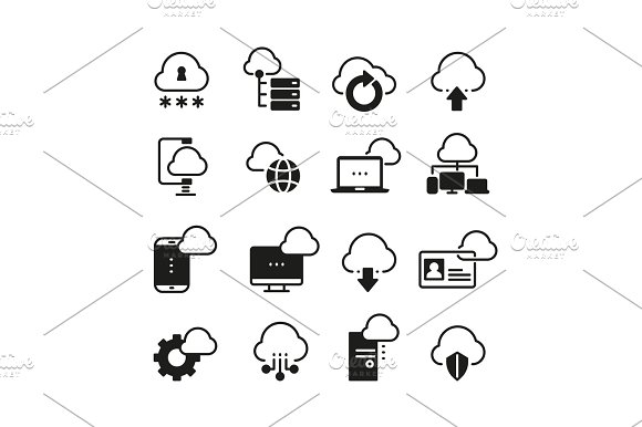 Internet Cloud Computing Vector Icon Set