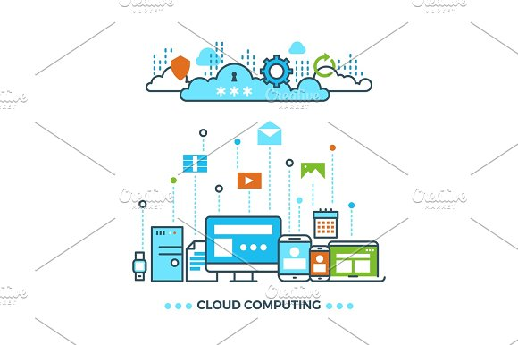 Digital Cloud Computing Computer Data Storage Vector Business Concept