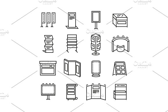 Advertising Billboards And Banner Display Exhibition Stands For Trade Show Line Icons Set