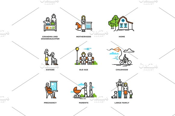 Family Life Marriage And Love Childhood And Old Age Line Vector Icons