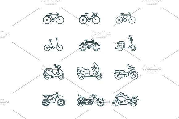Motorbike Motorcycle Scooter Bike Bicycle Thin Line Vector Icons