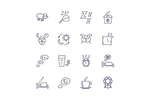 Sleeping icons isolated on white background. Relax and night rest vector signs