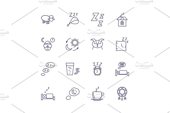 Sleeping Icons Isolated On White Background Relax And Night Rest Vector Signs