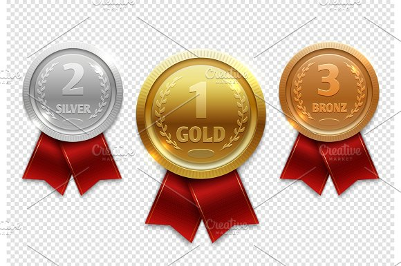 Champion Gold Silver And Bronze Award Medals With Red Ribbons