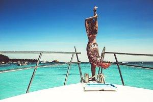 A girl on a yacht