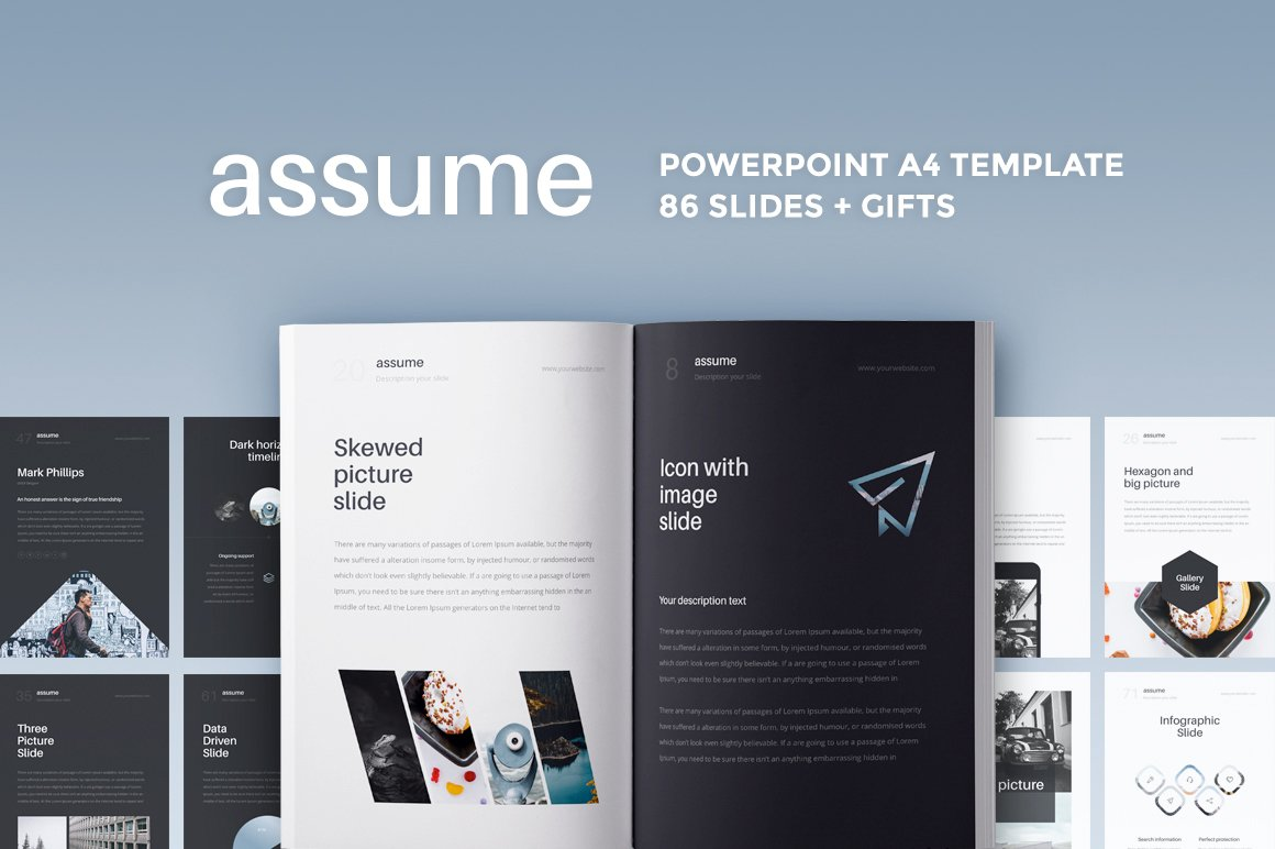 a4 assume powerpoint template presentation templates creative market