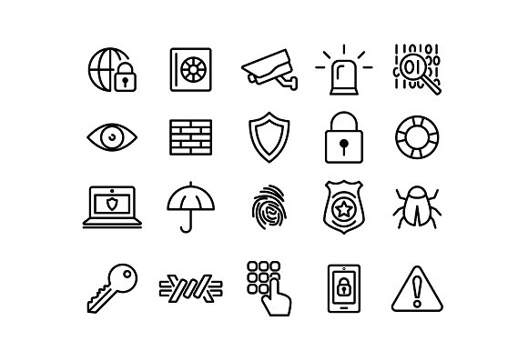 SECURITY Vector Line Icons