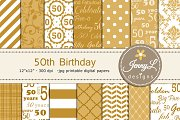 50th Birthday Digital Papers