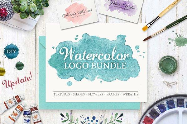 Watercolor Logo Bundle. DIY