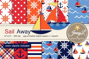 Nautical Digital Papers & Cliparts
