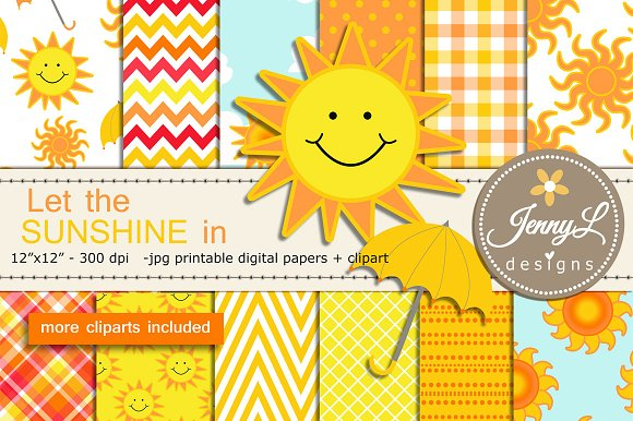 Sun Summer DIigital Papers