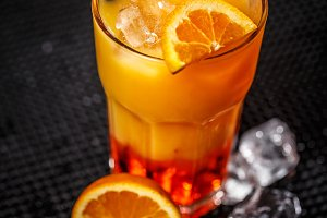 Mango liqueur with orange juice