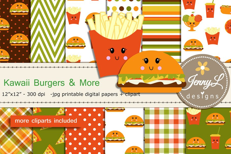 Kawaii Burgers Digital Papers in Patterns - product preview 8