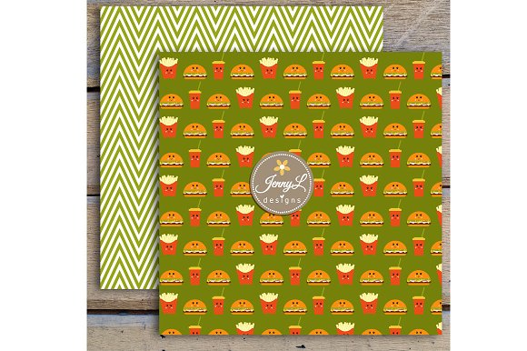 Kawaii Burgers Digital Papers in Patterns - product preview 4