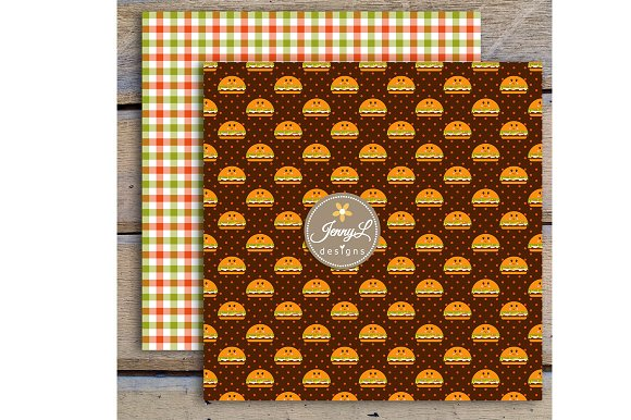 Kawaii Burgers Digital Papers in Patterns - product preview 5
