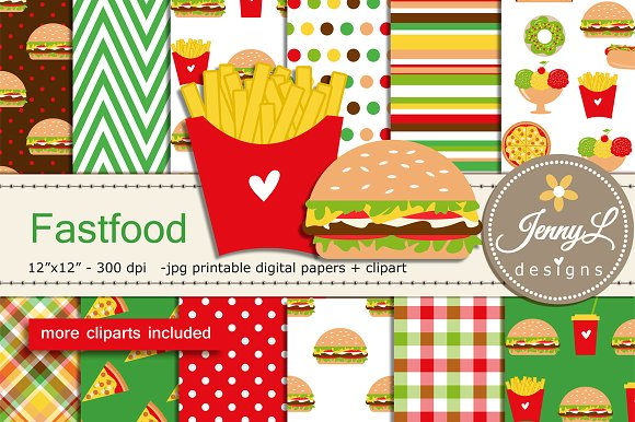 Burger And Fries Digital Papers
