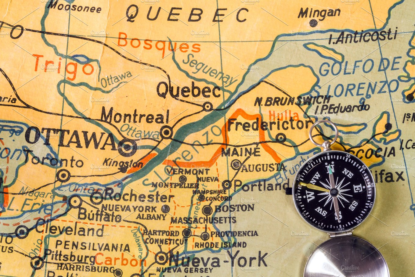 Old Map Of Quebec Southeast Canada Transportation Photos - Us map with compass