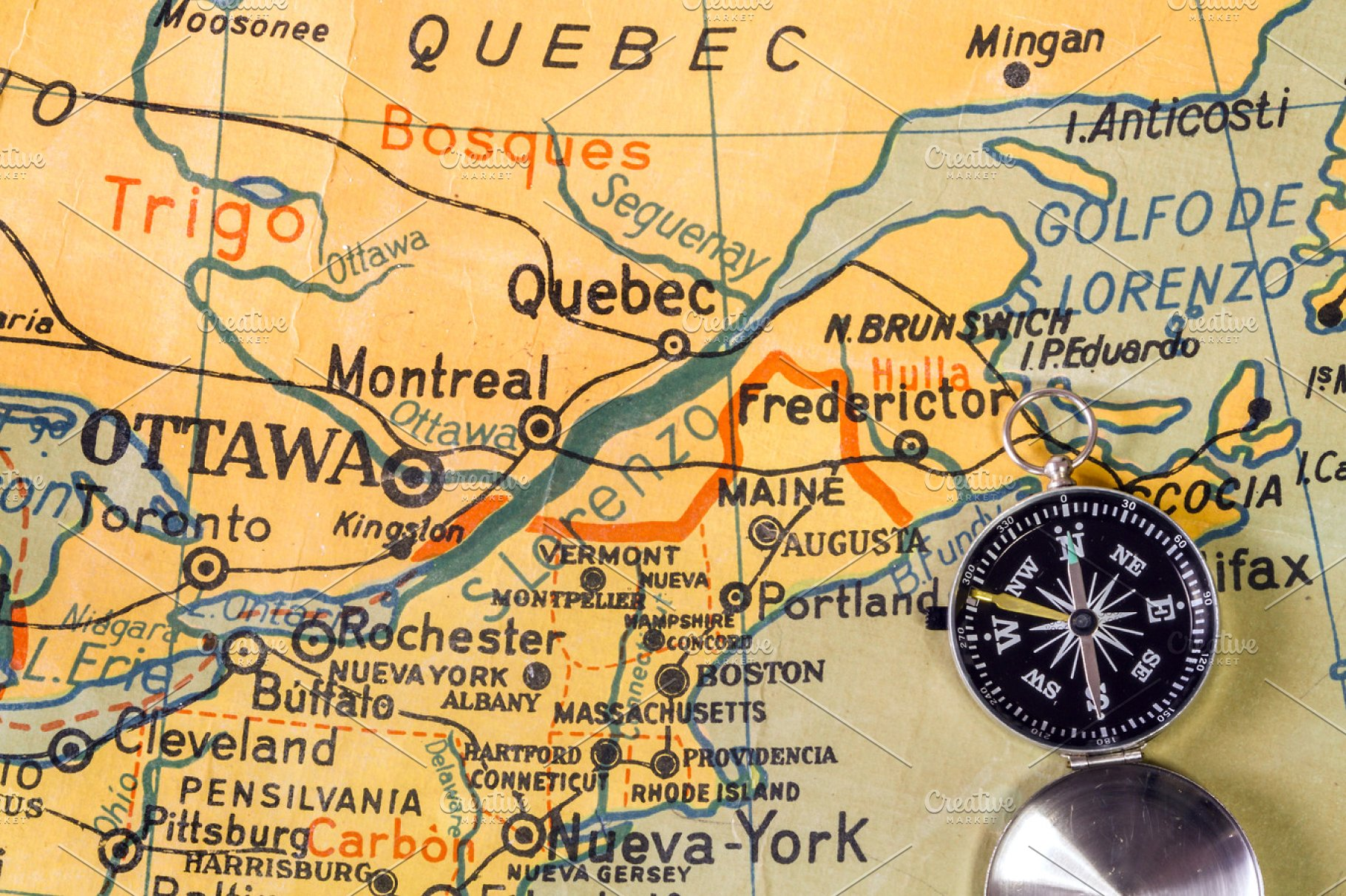 Map Of Southeast Canada.Old Map Of Quebec Southeast Canada