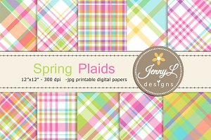 Spring Plaids Digital Papers