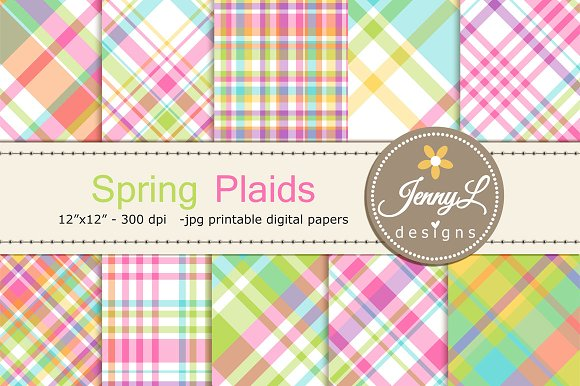 Spring Plaids Digital Papers